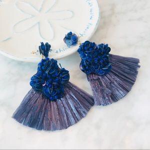 NWOT Fan Beaded Blue Earrings